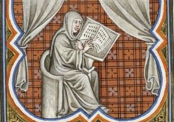 Éginhard écrivant, Bibliothèque nationale de France, cote français 2813