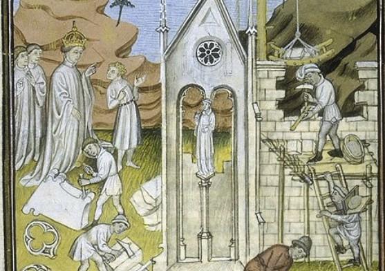 Charlemagne ordonnant la construction d'une église (Aix-la-Chapelle?), Bibliothèque municipale de Toulouse, MS 512