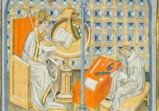 Légende: L'archevêque Turpin lisant sa Vie de Charlemagne, et Eginhard composant la Vita Caroli Magni