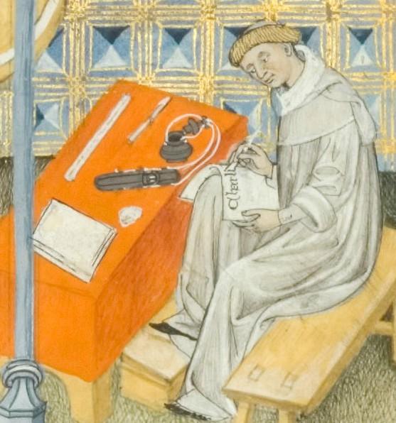 Éginhard composant la Vita Karoli Magni, Bibliothèque municipale de Toulouse, MS 512