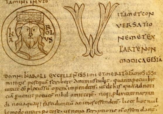 Début Vita Karoli Magni (11e siècle), Bibliothèque nationale de France, cote latin 5943A