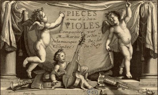 Page de titre des Pièces de violes de Marin Marais, 1er livre