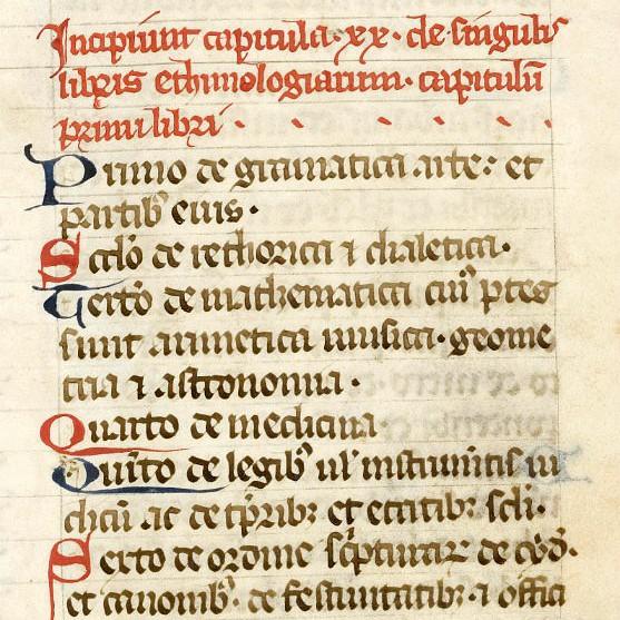 Plan des Étymologies d'Isidore de Séville, jusqu'au livre VII
