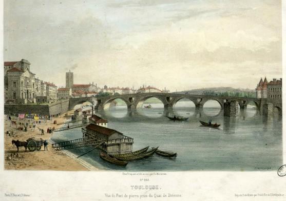 Toulouse - Vue du Pont de pierre prise du Quai de Brienne par Charles Mercereau (1822-1864), A-MERCEREAU (7-53)