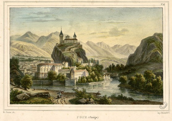 Foix (Ariège) par Edouard Jean-Marie Hostein (1804-1889), A-MONTHELIER (2-3)