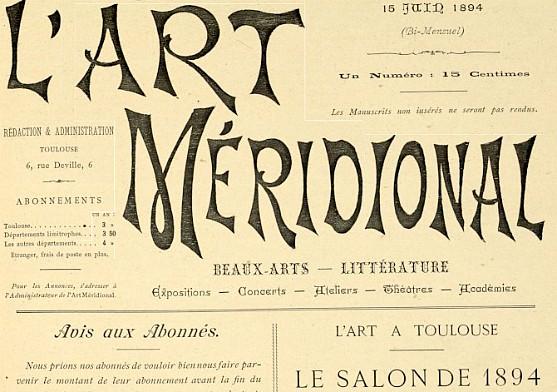 L'Art méridional, 15 juin 1894