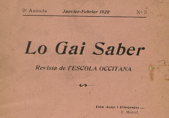 Lo Gai Saber, janvier-février 1920