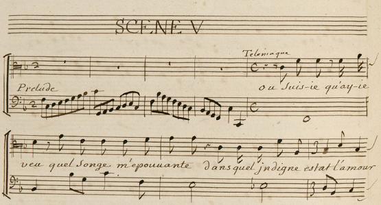 Manuscrit de Télémaque, tragédie en musique composée d'extraits d'opéras de différents compositeurs : Campra, Collasse, Charpentier, Marais...