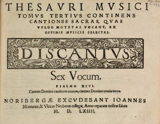 Page de titre du 3ème livre du Thésaurus musicus